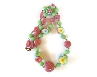 Art deco bridal necklace, boho chic wedding jewelry, czech glass flower necklace, woodland wedding necklace, floral bridal jewelry for bride