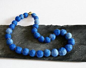 Blue felt necklace, Felt beads necklace, Big blue chunky necklace, Felted necklace, Textile necklace, wife gift, girlfriend gift, felt beads