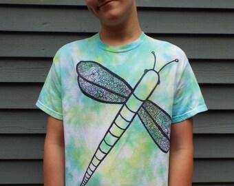 Dragonfly Tee Shirt- Dragonfly Tshirt- Dragonfly Clothes- Nature Lovers Gift- Nature Tshirt- TieDye Shirt- Tie Dye Tshirt Adult M, Art Shirt