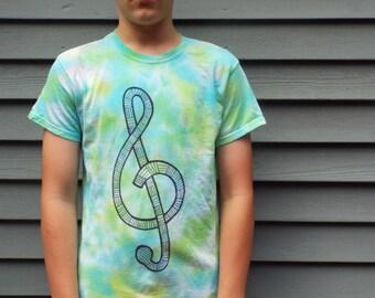 Treble Clef Shirt, Adult S, Tie Dye Music Shirt, Treble Clef Tshirt, Music Gift, Musician Shirt, Hippie Tie Dye Shirt, Musical Shirt, Hippie