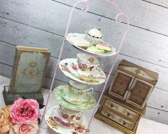SALE-- Bird Pink Large 4 Tier Metal Tea Cup Display Stand, Teacup Holder, Teacup Rack For Tea Parties, Weddings, Showers #956