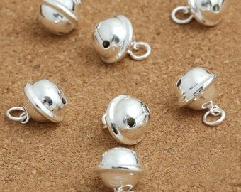 2 Sterling Silver Cat Collar Bell Charm, Sterling Silver Dog Bell Charm, 925 Silver Jingle Bell Charm, Small Bell, Round Bell - F547