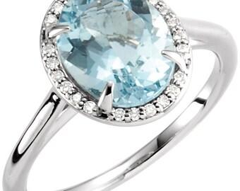 14K White Gold Diamond Natural Aquamarine Halo Style Engagement Ring 6.5, Set with a 2.5 Carat or 10x8 MM Oval Aquamarine Gemstone