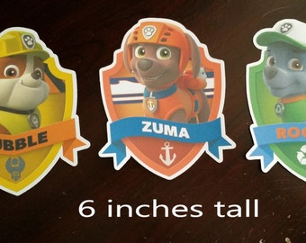 Paw Patrol Badge Cutouts / Diecuts / Puppy / Dogs / Cats / Pets / Animal / Nickelodeon Paw Patrol / Party Supplies / Centerpiece
