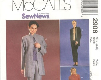 McCall's 2906 Size 4,6 or 8, 10  Women's sewing pattern: below hip Jacket, sleeveless shell and pull on pants suit.  Below hip length jacket