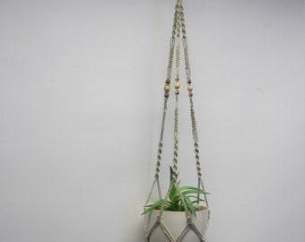 Cotton macrame plant hanger. Hanging planter. Flowerpot hanger. 27 inches 1,5 mm