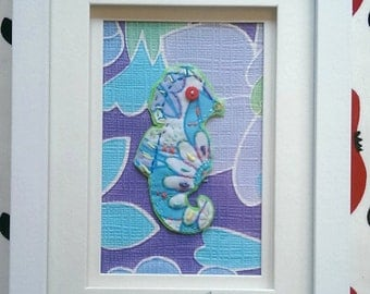 Blue-Seahorse-Hand Embroidered-Vintage Fabric-Vintage Wallpaper-Framed Textile Art-16 x 21 cm.