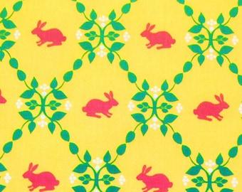 Laurie Wisbrun Robert Kaufman 100% Organic Cotton Fabric Yellow Pink Bunny Print Damask