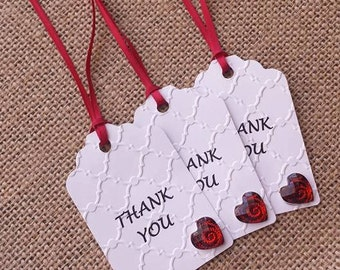 THANK YOU TAGS, Red White Black Tags, 12 Embossed tags, Wedding Tags, Birthday, Party Favors, Handmade Tags, Elegant Tags, Gift Tags,