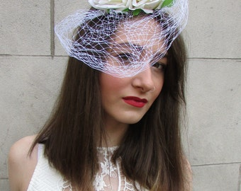 Ivory White Rose Flower Birdcage Veil Fascinator Vintage Headpiece 1940s 1950s Rockabilly Hat Headdress Net Races Ascot Unique Floral S43