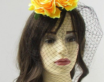 Yellow Rose Flower Black Birdcage Veil Fascinator Vtg Headpiece Hair Clip 257