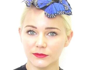 Royal Blue Black Butterfly Fascinator Hair Clip Unique Headpiece Races Vtg 570