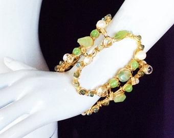 60's Mod Mint Green Bracelet Cuff, Gold Retro Geometric Cuff Bracelet w/ Prehnite, Aventurine and White Pearls, JOSIE RETRO CUFF