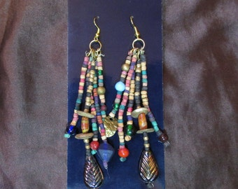 1 Pair of Long, Dangly Earrings- Vintage India Glass, Metal, & Wood Beads from the 1980's- Dramatic Ethnic/Boho/Tribal Style