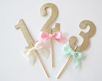 Champagne Gold Glitter Wooden Table Number Sticks // Wedding & Shower Centerpiece