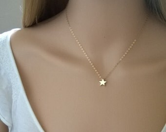 gold star necklace in 14kt gold-filled and natural brass; small gold star necklace; simple gold necklace