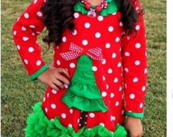 Girls Red Polka Dot Ruffle Christmas Tree Dress - Many Sizes Available