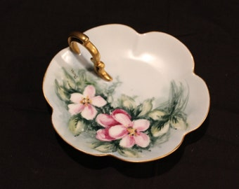 Antique Hand Painted Bavarian China, Trinket Dish, Notions dish,  Z. S. & Co., with handle, Hand Painted Rose Plate (H036)