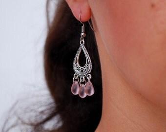 Pink earrings, bridesmaid gifts, teardrop earrings, Boho Chandelier Earrings, Women's Jewelry, simple everyday style, summer