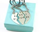 Best Bitches Keychain, Best Friend Keychain, BFF Keychain, Split Heart Keychain, Best Friend Forever Christmas Gift