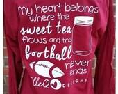 Monogrammed Sweet Tea and Football Long Sleeve Shirt. Monogrammed Shirt. Football. Southern. Monogrammed Football. Gift. Sweet Tea.