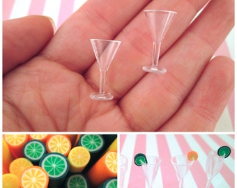 DIY Kit, 2 Miniature Dollhouse Martini Glass for Decoden, Fake Food, and Doll Props, #DH49