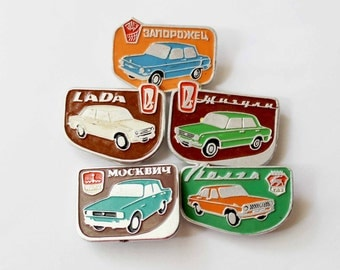 Set of Old Soviet Cars USSR Automobiles Soviet Vintage Old pins Soviet badges Vintage pins Vintage badges Gift for Him Gift for Dad