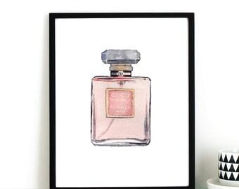 COCO CHANEL PINK Perfume Bottle Fashion Illustration Digital Instant Printable Art Print by  Basemint Liselle Fernandes