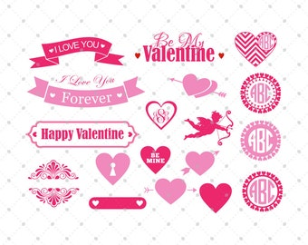 Valentine Day SVG, Hearts SVG Cut Files, Cupid SVG, Heart Monogram svg Cut Files for Cricut, Silhouette and other Vinyl Cutters, svg files