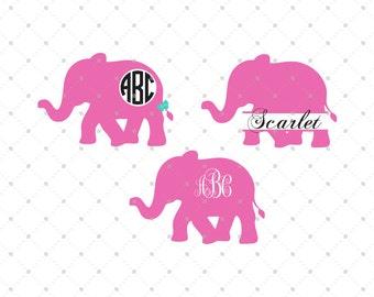 Elephant SVG Cut Files, Elephant SVG, cut files for Silhouette, cut files for Cricut, svg files, Monogram frames svg, Circle monogram