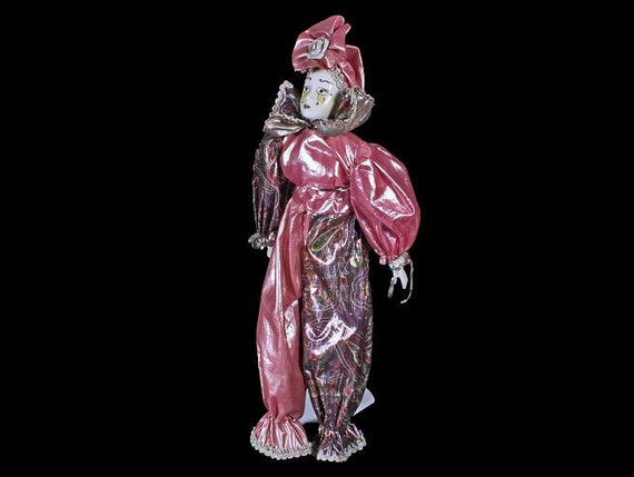 Porcelain Musical Harlequin Doll, With Stand