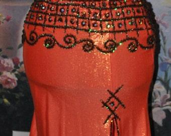 On Hold for Koshtana! SALE!!! Reduced Price!!! Gorgeous Orange Belly Dance Costume! Perfect for Autumn/Fall Season!!!