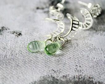 green stud earrings gift/for/wife green studs friend gift modern earrings dangle studs/for/girlfriend silver studs teardrop studs пя39
