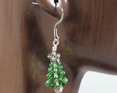Christmas Tree Earrings, Holiday Earrings, Christmas Earring, Christmas Jewelry, Silver Dangle Earrings, Green Crystal, Swarovski Crystals