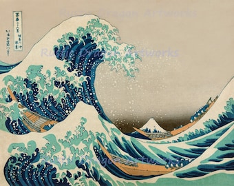 "Katsushika Hokusai ""The Great Wave of Kanagawa"" 1823 Reproduction Digital Print Wave Japanese Art Edo Period Tsunami"