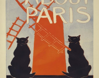 "Gibson Penfield ""About Paris"" Advertisement Black Cats 1895 Reproduction Digital Print Vintage Print Wall Hanging"