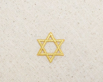 Small - Gold - Star of David - Iron on Applique - Embroidered Patch - 695730M