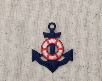 Nautical - Navy Blue Anchor - Red/White Life Preserver - Iron on Applique - Embroidered Patch - 21260-5-B