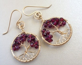 Garnet Gold Earrings Gold Tree-of-Life January Birthstone Gold Tree of Life Garnet Earrings 2nd Wedding Gift 2nd Anniversary Gift Garnet