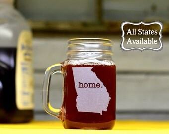 Mason Jar Glasses. Custom - Pick Any State & Word. Etched Mason Jars.