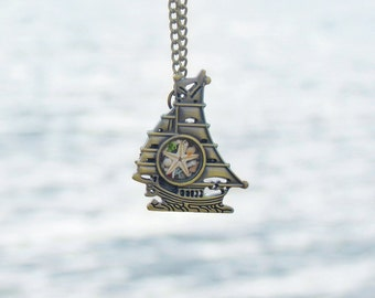 Ship jewelry, Ship necklace, Nautical necklace, Sailor Necklace, Pirate Necklace, Boat necklace, Sailboat necklace, Pirate Ship Necklace