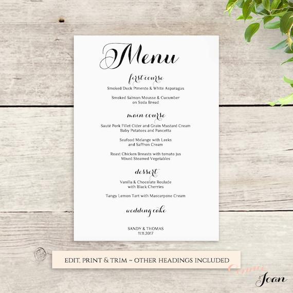 Printable menu wedding template food menu bar menu byron edit