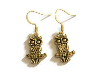 Owl Earrings - Owl Charm Earrings - Gold Owl Earrings - Gold Jewelry - Dangle Earrings - Owl Jewelry