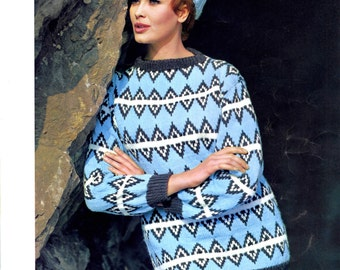 Women's Retro Pullover & Hat Knitting Pattern from the 60s