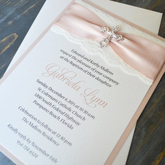 GABRIELA - Lace Baptism Invitation - Ivory Lace with Rhinestone Cross - Blush Pink - Antique Pink - Gold - Lace Christening Invite