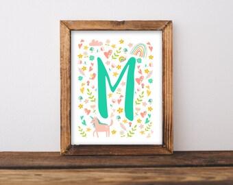 Unicorn Nursery Wall Art Printable, Whimsical Baby Name Letter Baby Shower Gift, Rainbow Unicorns Personalized Bedroom Decor Birthday