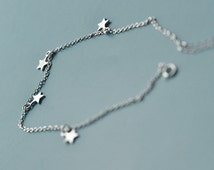 Minimalist Star Pendant Anklet-Unique Sterling Silver Anklets-Ankle Bracelet-Foot Bracelet Jewelry-Summer Body Jewelry-Beach Jewelry
