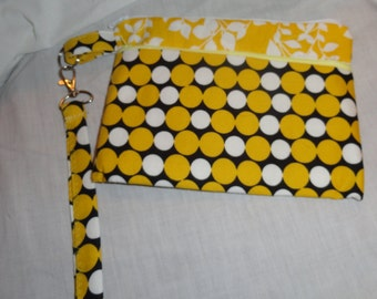 Yellow wristlet, clutch, purse, pouch