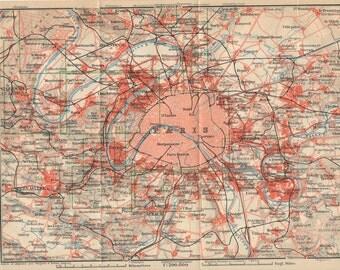 1913 Paris France Antique Map