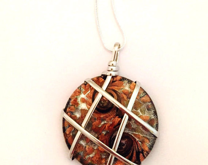 Blown Glass Pendant Necklace, Brown Glass, Wire Wrapped Glass Necklace on a Silver Chain 18 inch chain, 24 inch chain, 28 inch